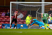 Bradford City defender Anthony McMahon (29) scores a goal from the penalty spot  to make the score 1-0 during the EFL Sky Bet League 1 match between Bradford City and AFC Wimbledon at the Coral Windows Stadium, Bradford, England on 22 April 2017. Photo by Simon Davies.