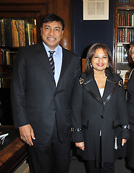 Multi millionaire LAKSHMI MITTAL and USHA MITTAL at a party to celebrate the publication of Maryam Sach's novel 'Without Saying Goodbye' held at Sotheran's Bookshop, 2 Sackville Street, London on 10th November 2009.