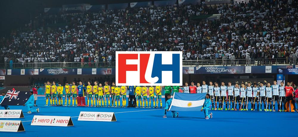 BHUBANESWAR - Line Up .  Hockey World League finals , Final Australia-Argentina (2-1) . Australia wint de finale. COPYRIGHT KOEN SUYK