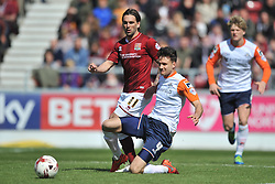 LUTON JONATHAM SMITH HOLDS OF NORTHAMPTON RICKY HOLMES,  Northampton Town v Luton Town, Sky Bet League 2,  Six Fields Stadium Northampton Crowned Division Two Champions Saturday 30th April 2016. (Score 2-1)Photo: Mike Capps
