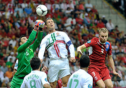 (L) Portugal's goalkeeper Rui Patrício (nr12) & (C) Portugal's Cristiano Ronaldo (nr07) fight for the ball with Czech's Michal Kadlec (nr03) during the UEFA EURO 2012 Quarterfinal football match between Portugal and Czech Republic at National Stadium in Warsaw on June 21, 2012...Poland, Warsaw, June 21, 2012..Picture also available in RAW (NEF) or TIFF format on special request...For editorial use only. Any commercial or promotional use requires permission...Photo by © Adam Nurkiewicz / Mediasport