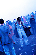 Early morning rave at the first outdoor rave up North, The Gio Goi Joy Rave run by Anthony and Chris Donnelly, Ashworth Valley, Rochdale, 5th August 1989.