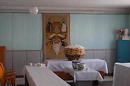 Mongolia. Gengis khan portrait in a restaurant . Mongol new year , Tsagan sar, in Bulgan, village of the Gobi desert.  Bulgan -   / Gengis Khan Portrait . dans un restaurant ,  Nouvel an mongol . Tsagaan Sar. a Bulgan , village du desert de Gobi  Bulgan - Mongolie  / L0055914