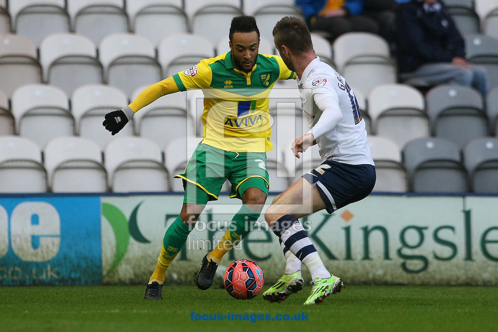 Nathan Redmond of Norwich and Paul Gallagher of Preston in action during the FA Cup match at Deepdale, Preston<br /> Picture by Paul Chesterton/Focus Images Ltd +44 7904 640267<br /> 03/01/2015