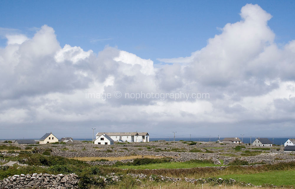 Houses and the local Arts Centre on Inis Oirr the Aran Islands in Galway Ireland