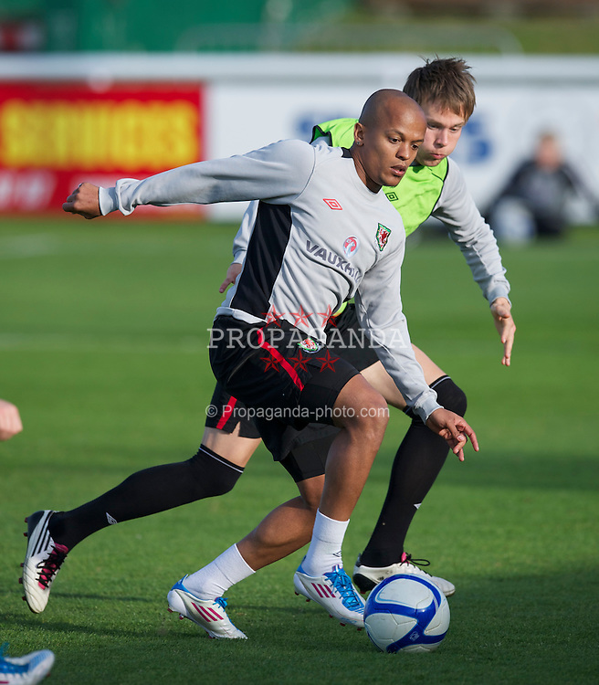 BRAY, REPUBLIC OF IRELAND - Tuesday, May 24, 2011: Wales' captain Robert Earnshaw and Chris Gunter during a training session at Bray Wanderers' Carlisle Grounds ahead of the Carling Nations Cup match against Scotland. (Photo by David Rawcliffe/Propaganda)
