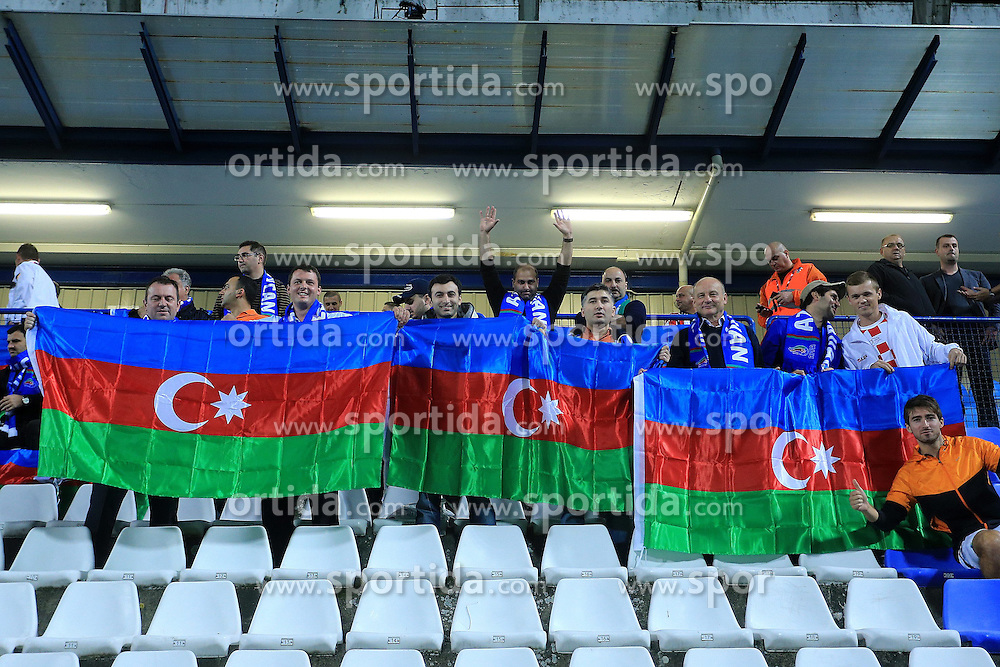 13.10.2014, Stadion Gradski vrt, Osijek, CRO, UEFA Euro Qualifikation, Kroatien vs Aserbaidschan, Gruppe H, im Bild Azerbaijan supporters // during the UEFA EURO 2016 Qualifier group H match between Croatia and Azerbaijan at the Stadion Gradski vrt in Osijek, Croatia on 2014/10/13. EXPA Pictures &copy; 2014, PhotoCredit: EXPA/ Pixsell/ Davor Javorovic<br /> <br /> *****ATTENTION - for AUT, SLO, SUI, SWE, ITA, FRA only*****
