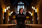 MILWAUKEE, WI – MARCH 28: Pastor Lisa Froiland poses for a portrait inside Redeemer Lutheran Church on Monday, March 28, 2016. Frank Zeidler's home parish during his lifetime, Redeemer now houses the Frank Zeidler Center for Public Discussion.
