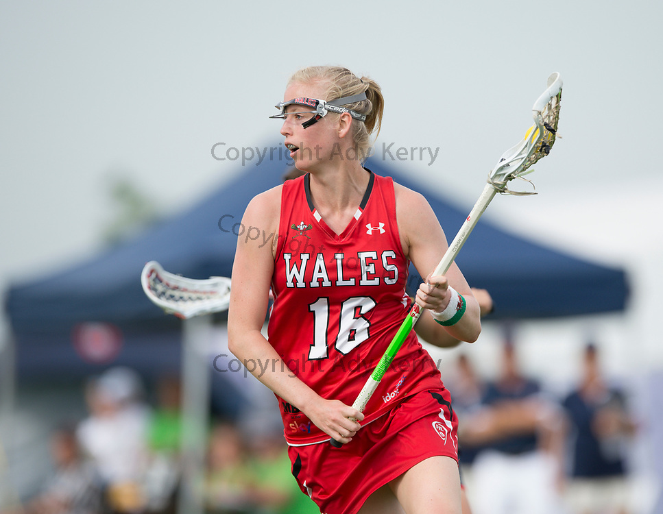 Wales'Lucy Fowler against USA at the 2017 FIL Rathbones Women's Lacrosse World Cup, at Surrey Sports Park, Guildford, Surrey, UK, 18th July 2017.