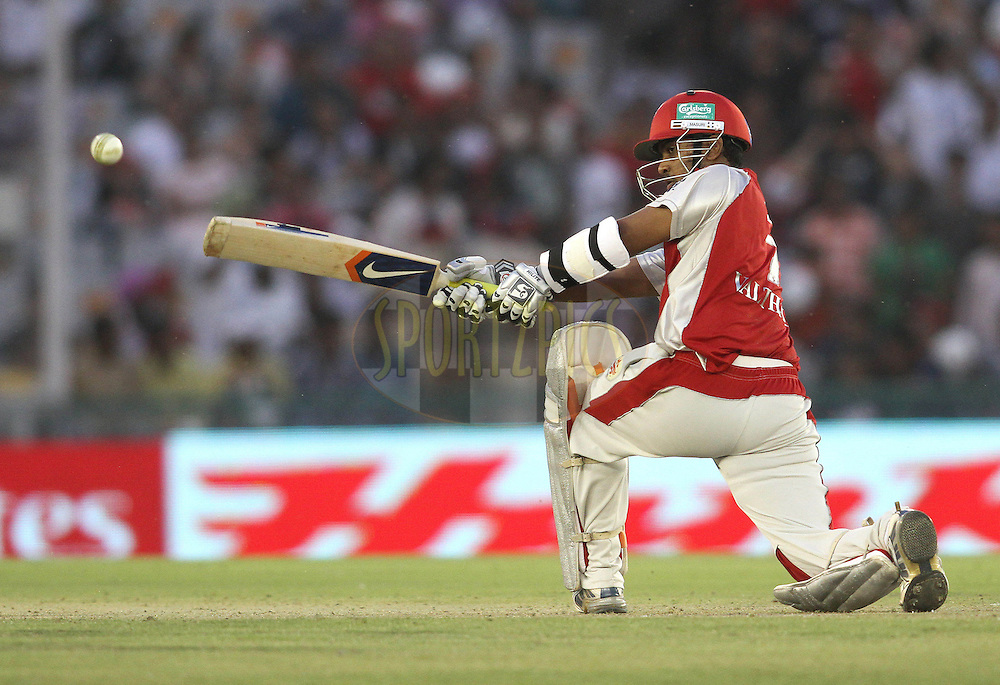 Paul Valthaty of the Kings XI Punjab slog sweeps a delivery for six during match 9 of the Indian Premier League ( IPL ) Season 4 between the Kings XI Punjab and the Chennai Super Kings held at the PCA stadium in Mohali, Chandigarh, India on the 13th April 2011..Photo by Shaun Roy/BCCI/SPORTZPICS