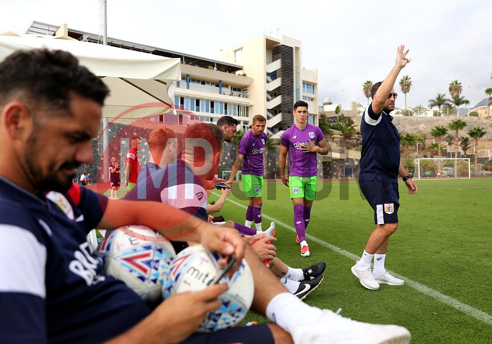 Bristol City head coach Lee Johnson signals to make a substitution - Mandatory by-line: Matt McNulty/JMP - 22/07/2017 - FOOTBALL - Tenerife Top Training - Costa Adeje, Tenerife - Bristol City v Atletico Union Guimar  - Pre-Season Friendly