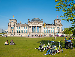View of Reichstag parliament building in summer  in Berlin Germany