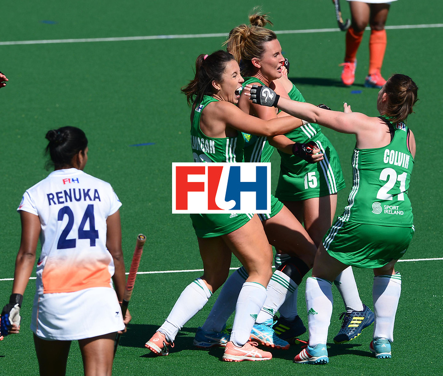 JOHANNESBURG, SOUTH AFRICA - JULY 22: Anna O'Flanagan of Irelandcelebrates with her team mates during day 8 of the FIH Hockey World League Women's Semi Finals 7th-8th place match between India and Ireland at Wits University on July 22, 2017 in Johannesburg, South Africa. (Photo by Getty Images/Getty Images)
