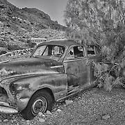 Rusted Chevrolet Fleetline Dusk - Eldorado Canyon - Nelson NV - HDR - Black & White