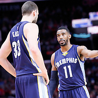 23 February 2015: Memphis Grizzlies guard Mike Conley (11) talks to Memphis Grizzlies center Marc Gasol (33) during the Memphis Grizzlies 90-87 victory over the Los Angeles Clippers, at the Staples Center, Los Angeles, California, USA.
