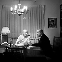 Benjamin Netanyahu with his father, Ben Zion Netanyahu in Ben Zion's house in jerusalem, a few days before the elections. February 08, 2009.
