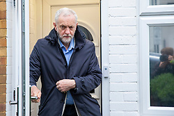 © Licensed to London News Pictures. 28/04/2018. London, UK. Labour Leader JEREMY CORBYN leaves his home on Saturday April 28, 2018. A Sunday Times newspaper investigation has found that Russian Twitter 'bots' attempted to influence election by supporting Jeremy Corbyn. Photo credit: Rob Pinney/LNP
