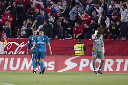 May 9, 2018 - Seville, Spain - Players of Real Madrid laments after WISSAN BEN YEDDER of Sevilla scores for 1-0 during the La Liga soccer match between Sevilla FC and Real Madrid at Sanchez Pizjuan Stadium (Credit Image: © Daniel Gonzalez Acuna via ZUMA Wire)