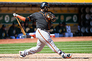 San Francisco Giants third baseman Pablo Sandoval (48) strikes out against the Oakland Athletics at Oakland Coliseum in Oakland, California, on March 25, 2018. (Stan Olszewski/Special to S.F. Examiner)