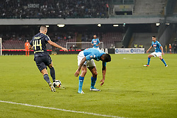 October 21, 2017 - Napoli, Napoli, Italy - Naples - Italy 21/10/2017.MARQUES LOUREIRO ALLAN of  S.S.C. NAPOLI   and IVAN PERISIC  of  Inter  fights for the ball during Serie A  match between S.S.C. NAPOLI and Inter  at Stadio San Paolo of Naples. (Credit Image: © Emanuele Sessa/Pacific Press via ZUMA Wire)