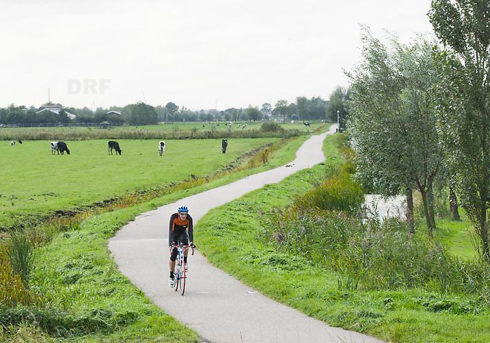 Nederland Delft 17-09-2010 20100917     A4 Delft - Schiedam wordt definitief verlengd,  er  is begin deze maand officieel besloten tot de aanleg van het stuk snelweg waarover zo'n vijftig jaar is gesproken. Natuurgebied dat in de toekomst zal moeten wijken na het doortrekken van de A4. Wielrenner fiets op fietspad fietsroute door natuurgebied. Rijkswaterstaat en het ministerie van VWS hebben dat laten weten.Over de nieuwe verkeersader wordt al decennialang gesteggeld, vooral omdat de weg het natuurgebied Midden-Delfland doorboort...De zeven kilometer asfalt tussen Delft en Schiedam doorkruist straks verdiept of via een tunnel het natuurgebied tussen de twee steden. Het belangrijkste pluspunt is dat de A13 wordt ontlast. Op rijksweg A13 staat dagelijks de voor de economie schadelijkste file van Nederland. Met het project A4 Delft-Schiedam willen lokale en regionale overheden en het Rijk de problemen rond bereikbaarheid en leefbaarheid op en rond de A13 en de A4 Delft-Schiedam oplossen. Midden Delftland. , ruimtelijke ordening, Ruimtelijke plannen, ruimtelijke planning, ruimtelijke visie, ruraal, rurale omgeving, rustiek, rustieke, rustieke omgeving, rustig, rustige, space, spare time, spoor, sporten, sportende, sportief, sportieve, sporting, sportive, stedelijke vernieuwing, stil, streekplan, sunny, terrein, The Netherlands Holland Nederland, toekomst, toekomstige plannen, toekomstplannen, tracé, traject, uitgestrektheid, verbinding, verbindingen, vergezicht, vergezichten, verkeer en vervoer, verkeer en waterstaat, verkeersnet, verlengen, vernieuwing, vervoer, vewezenlijken, vitaal, vitale, vitaliteit, vrije tijd, wegenbouw, wegenbouwplanologie, wegennet, wegnet, wei, weide, weidegang, weiland, wielrennen, wielrenner, wijds, wijdse, wijdsheid