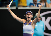 Caroline Wozniacki of Denmark celebrates during her second round match at the 2020 Australian Open, WTA Grand Slam tennis tournament on January 22, 2020 at Melbourne Park in Melbourne, Australia - Photo Rob Prange / Spain ProSportsImages / DPPI / ProSportsImages / DPPI