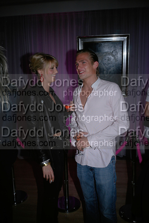 Lady Emily Compton and Jacobi Anstruther-Gough-Calthorpe , Laurent Perrier Pop Art Pink party. Suka at Sanderson. Berners St. London. 25 April 2007.  -DO NOT ARCHIVE-© Copyright Photograph by Dafydd Jones. 248 Clapham Rd. London SW9 0PZ. Tel 0207 820 0771. www.dafjones.com.