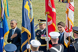 United States President Barack Obama, left, and Prime Minister Justin Trudeau of Canada, right, review the troops during an Arrival Ceremony on the South Lawn of the White House in Washington, DC on Thursday, March 10, 2016. Credit: Ron Sachs, CNP - NO WIRE SERVICE -. EXPA Pictures © 2016, PhotoCredit: EXPA/ Photoshot/ Ron Sachs<br /> <br /> *****ATTENTION - for AUT, SLO, CRO, SRB, BIH, MAZ, SUI only*****