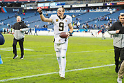 NASHVILLE, TN - DECEMBER 22:  Drew Brees #9 of the New Orleans Saints smiles on the field after a game against the Tennessee Titans at Nissan Stadium on December 22, 2019 in Nashville, Tennessee. The Saints defeated the Titans 38-28.  (Photo by Wesley Hitt/Getty Images) *** Local Caption *** Drew Brees