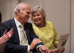 © Licensed to London News Pictures. 20/07/2017. London, UK. Newly elected Liberal Democrat party leader Sir Vince Cable sits next to his wife Rachel Smith. Tim Farron stepped down after the general election.  Photo credit: Peter Macdiarmid/LNP