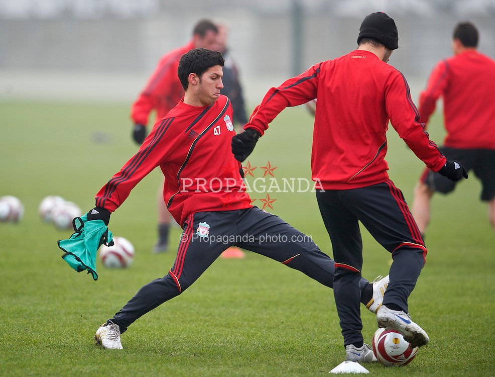 LIVERPOOL, ENGLAND, Wednesday, February 17, 2010: Liverpool's Daniel Pacheco during training at Melwood Training Ground ahead of the UEFA Europa League Round of 32 match against Unirea Urziceni. (Photo by David Rawcliffe/Propaganda)