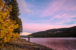 """Donner Lake in Autumn 11"" - Sunset photograph of fall foliage and a dock at Donner Lake in Truckee, California."