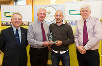 Repro Free:  Student of the year 2016   and Teagasc Green Cert Graduate Damien Mc Clearn at the Raheen Woods Hotel with Professor Gerry Boyle, Teagasc,  Mick Culkeen SJ Credit Union Tuam and David Colbourne Teagasc.  Photo:Andrew Downes, xposure