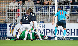 Falkirk's keeper Michael McGovern saves from Dunfermline's Ryan Thomson.<br /> Falkirk 2 v 1 Dunfermline, Scottish League Cup, 27/8/2013, at The Falkirk Stadium.<br /> &copy;Michael Schofield.