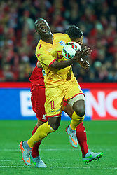 ADELAIDE, AUSTRALIA - Monday, July 20, 2015: Adelaide United's Bruce Djite in action against Liverpool during a preseason friendly match at the Adelaide Oval on day eight of the club's preseason tour. (Pic by David Rawcliffe/Propaganda)