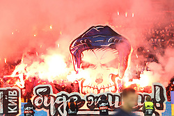 February 21, 2019 - Kiev, Ukraine - Dynamo Kyiv fans burn flares during the UEFA Europa League round of 32 second leg football match between Olympiacos FC and FC Dynamo Kyiv at the Olimpiyskiy Stadium in Kiev on February 21, 2019. (Credit Image: © Str/NurPhoto via ZUMA Press)