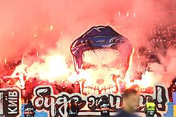 February 21, 2019 - Kiev, Ukraine - Dynamo Kyiv fans burn flares during the UEFA Europa League round of 32 second leg football match between Olympiacos FC and FC Dynamo Kyiv at the Olimpiyskiy Stadium in Kiev on February 21, 2019. (Credit Image: © Str/NurPhoto via ZUMA Press)
