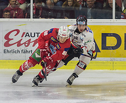 28.10.2018, Stadthalle, Klagenfurt, AUT, EBEL, EC KAC vs HC Orli Znojmo, 14. Runde, im Bild Niki Kraus (EC KAC, #80), Patrik Novak (HC Orli Znojmo, #22) // during the Erste Bank Eishockey League 14th round match between EC KAC vs HC Orli Znojmo at the City Hall in Klagenfurt, Austria on 2018/10/28. EXPA Pictures © 2018, PhotoCredit: EXPA/ Gert Steinthaler