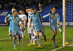 Michael Nelson of Cambridge United celebrates scoring the equalising goal - Photo mandatory by-line: Richard Martin-Roberts - Mobile: 07966 386802 - 19/12/2014 - SPORT - Football - Birkenhead - Prenton Park - Tranmere Rovers v Cambridge United - Sky Bet League Two
