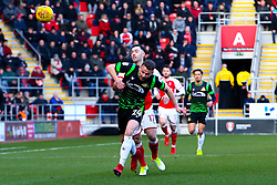Andy Boyle of Doncaster Rovers breaks down an attack from Richie Towell of Rotherham United - Mandatory by-line: Ryan Crockett/JMP - 24/02/2018 - FOOTBALL - Aesseal New York Stadium - Rotherham, England - Rotherham United v Doncaster Rovers - Sky Bet League One