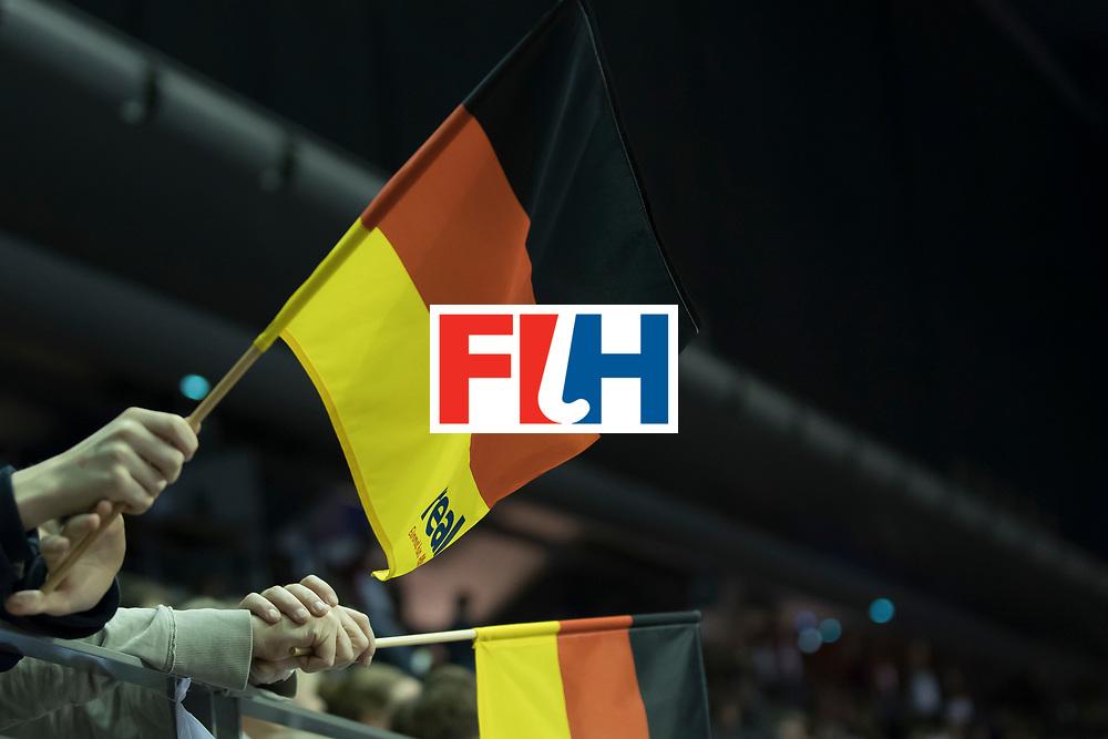 Hockey, Seizoen 2017-2018, 08-02-2018, Berlijn,  Max-Schmelling Halle, WK Zaalhockey 2018 MEN, Poland - Germany 3-6, flags Germany