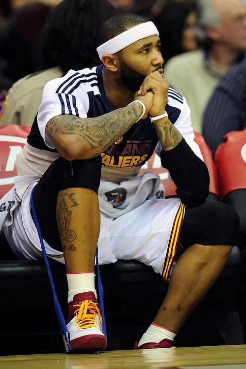 Feb. 13, 2011; Cleveland, OH, USA; Cleveland Cavaliers point guard Mo Williams (2) watches from the bench during the fourth quarter against the Washington Wizards at Quicken Loans Arena. The Wizards beat the Cavaliers 107-93 for their first win on the road this season. Mandatory Credit: Jason Miller-US PRESSWIRE