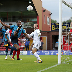 TELFORD COPYRIGHT MIKE SHERIDAN 7/8/2018 - CHANCE. Andre Brown of AFC Telford fires narrowly over during the National League North fixture between Kidderminster Harriers FC vs AFC Telford United.