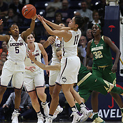 STORRS, CONNECTICUT- NOVEMBER 17: Crystal Dangerfield #5 of the UConn Huskies and Kia Nurse #11 of the UConn Huskies chase a loose ball during the UConn Huskies Vs Baylor Bears NCAA Women's Basketball game at Gampel Pavilion, on November 17th, 2016 in Storrs, Connecticut. (Photo by Tim Clayton/Corbis via Getty Images)