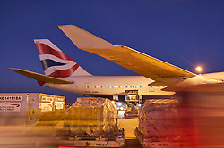 Cargo being loaded onto a British Airways airliner at night at Houston's Intercontinental Airport