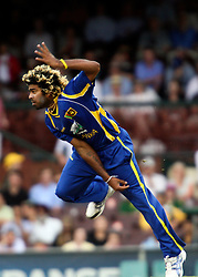 © Licensed to London News Pictures. 17/02/2012. Sydney Cricket Ground, Australia. Sri Lankan bowler Lasith Malinga bowls during the One Day International cricket match between Australia Vs Sri Lanka. Photo credit : Asanka Brendon Ratnayake/LNP
