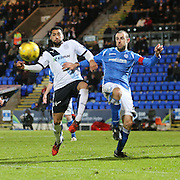 Dundee&rsquo;s Kane Hemmings and St Johnstone&rsquo;s David Mackay battle for the ball - St Johnstone v Dundee, Ladbrokes Scottish Premiership at McDiarmid Park<br /> <br />  - &copy; David Young - www.davidyoungphoto.co.uk - email: davidyoungphoto@gmail.com