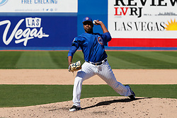 March 18, 2018 - Las Vegas, NV, U.S. - LAS VEGAS, NV - MARCH 18: Alberto Baldonado (87) of the Cubs delivers a pitch during a game between the Chicago Cubs and Cleveland Indians as part of Big League Weekend on March 18, 2018 at Cashman Field in Las Vegas, Nevada. (Photo by Jeff Speer/Icon Sportswire) (Credit Image: © Jeff Speer/Icon SMI via ZUMA Press)