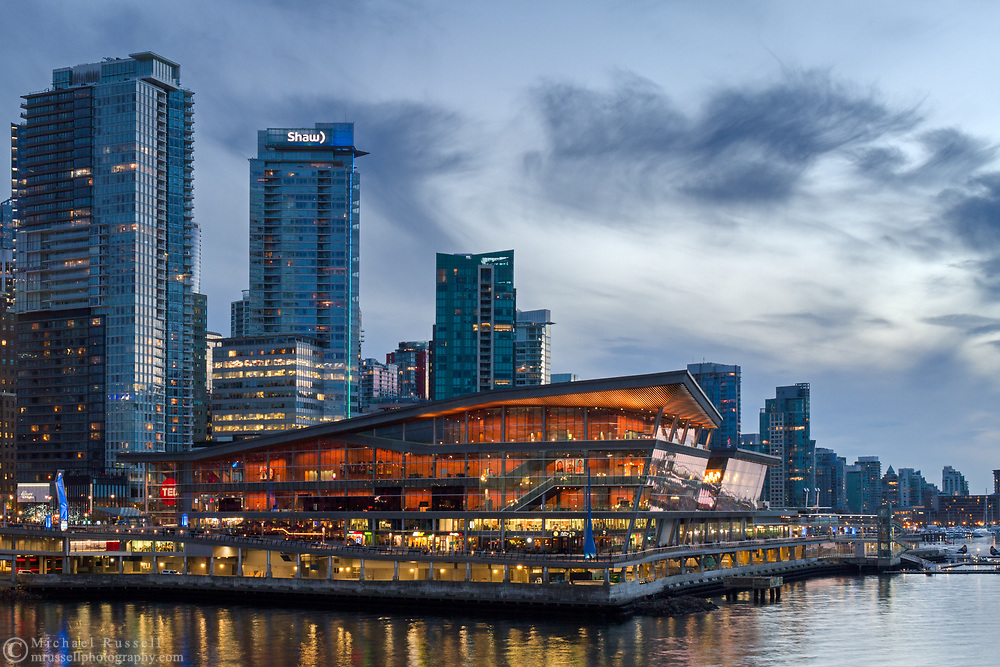 The Vancouver Convention Center in the early evening. Photographed from Canada Place in Vancouver, British Columbia, Canada.