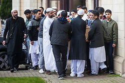 © Licensed to London News Pictures. 16/02/2017. Leeds UK. The funeral of Irfan Wahid has taken place today at the Markazj Jamia Masjib Bilal mosque in Leeds. The 16 year old was found with stab wounds in the Harehills area last Friday & died a short time later. A 16 year old boy has been arrested & charged with Irfan's murder. Photo credit: Andrew McCaren/LNP